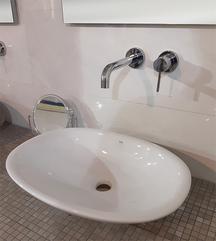 Dettagli su Lavabo lavandino da bagno ovale da appoggio Rak Morning  mm.380x540 bianco