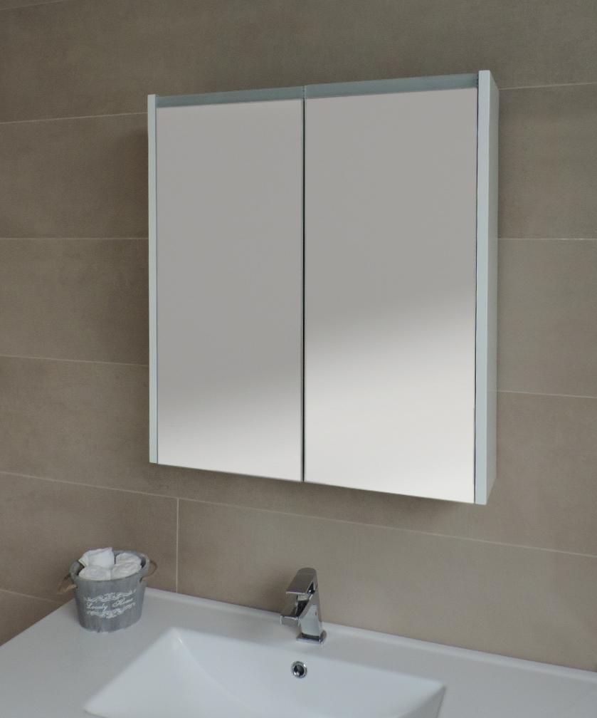 Specchiera specchio bagno pensile contenitore 2 ante fascia led ebay - Pensile bagno specchio ...
