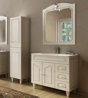 Mobile bagno a terra moderno Caravaggio effetto decapè, misura cm 90, con specchio e applique, lavabo e colonna