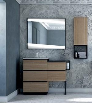 Mobile bagno moderno Qubo rovere bruges, cm 105, con specchio led e pensile