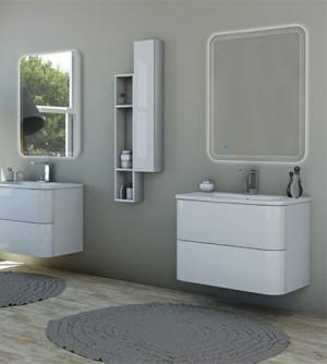 Mobile bagno sospeso moderno Angie sospeso bianco lucido, misura cm 80, con specchio a led, top, lavabo e pensili