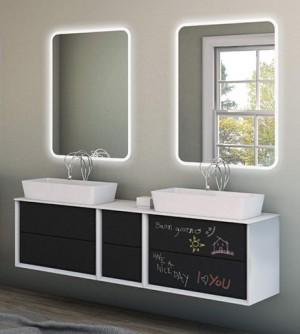 Mobile bagno sospeso moderno Bellagio sospeso grafite, misura cm 175, con specchio a led, top e lavabo