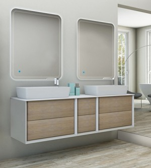 Mobile bagno sospeso moderno Bellagio sospeso rovere tabacco, misura cm 175, con specchi a led, top e lavabI