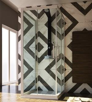Box doccia 3 lati, misura cm.80x100x80 riducibile, scorrevole trasparente