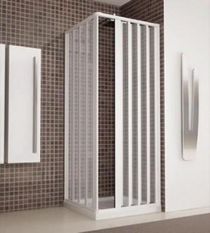 Box doccia angolare, cm.80x80 (riducibile da cm.70 a cm.80), cabina a soffietto colore bianco in acrilico