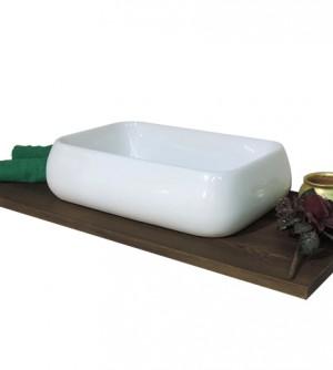 Lavabo lavandino bagno rettangolare da appoggio in ceramica bianca cm.62x42x16