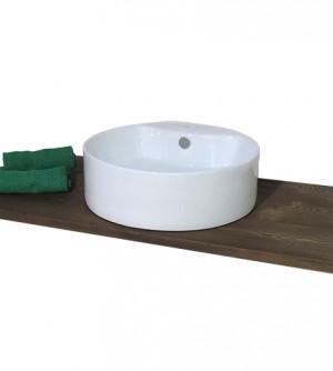 Lavabo lavandino da bagno tondo da appoggio in ceramica bianca cm.46x15,5