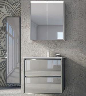 Mobile bagno sospeso moderno Glass antracite,cm 60,specchio led,lavabo e colonna