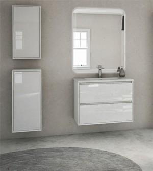 Mobile bagno sospeso moderno Glass bianco,cm 60,specchio led,lavabo e 2 colonne