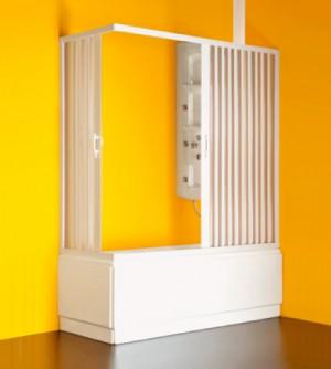 Box parete vasca angolo doccia sopravasca,misura cm.140/170X70,soffietto bianco