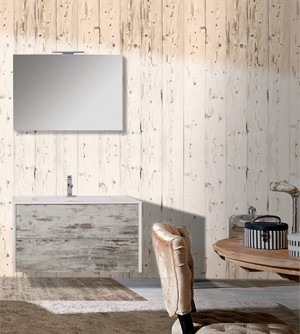 Mobile bagno sospeso rustico 45° Vintage, misura cm 90,5