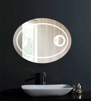 Specchiera specchio filo lucido bagno, retroilluminato led, ovale, cm.90x70