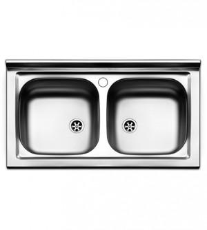 Lavello  cucina  appoggio  Apell  mod. Pisa  in  acciaio Inox,  misura cm.90x50, con 2 vasche senza gocciolatoio, completo di scarico