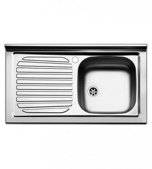 Lavello  cucina  appoggio  Apell  mod. Pisa  in  acciaio  Inox,  misura cm.90x50, con vasca singola a destra e gocciolatoio a sinistra, completo di scarico