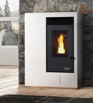 Stufa a pellet Karmek One Ibiza da 10,51 kW ad aria ventilata in acciaio, bianco