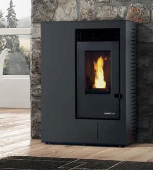 Stufa a pellet Karmek One Ibiza Canalizzabile da 10,51 kW, in acciaio, nero