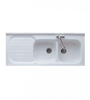 Lavello cucina appoggio in porcellana, cm.120x50, con vasca doppia a destra
