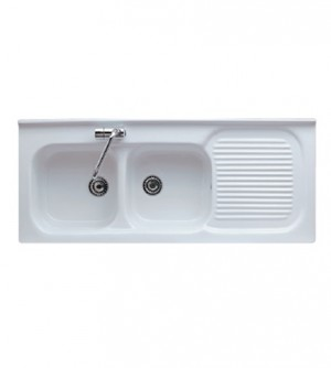 Lavello cucina appoggio in porcellana, cm.120x50, con vasca doppia a sinistra