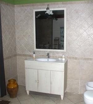 Mobile bagno a terra Ines decapè cm 90 con specchio, applique e lavabo