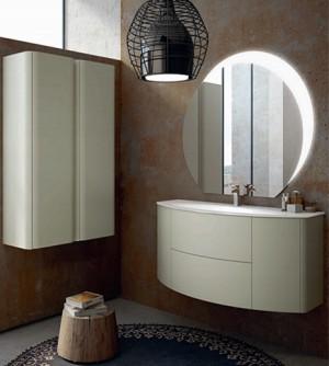 Mobile bagno sospeso Eden grigio natura, cm 90, con lavabo, specchio e colonne
