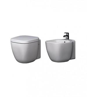 Sanitari bagno vaso wc water sospeso con bidet, coprivaso frizionato, One Rak