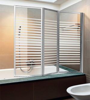 Parete vasca bagno schermo box doccia pieghevole cm.133 ante vetro cristallo