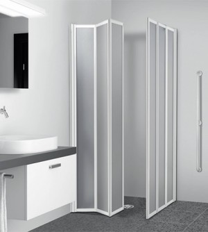 Box doccia 69/70+89/90, 3+3 pannelli pieghevoli, lastre acrilico per disabili