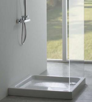 Piatto doccia 75x75, nuovo ma con difetti, quadrato in ceramica bianca Globo