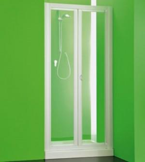 Box porta nicchia doccia, misura cm.86-91, cabina porta a libro due ante bianco in pvc