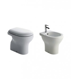 Sanitari bagno vaso a terra, bidet, compreso di coprivaso bianco, Grace Globo