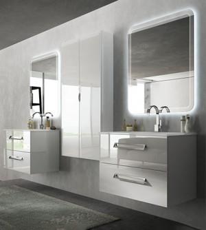 Mobile bagno sospeso moderno Boston bianco, misura cm 100, con specchio a led, lavabo e colonna