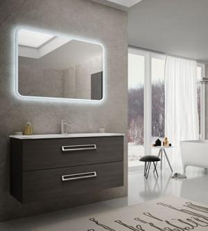 Mobile bagno sospeso moderno Boston grigio scuro venato, misura cm 100, con specchio a led e lavabo