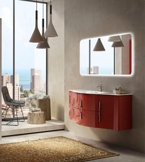 Mobile bagno sospeso moderno Sting rosso, misura cm 138, con specchio a led e lavabo