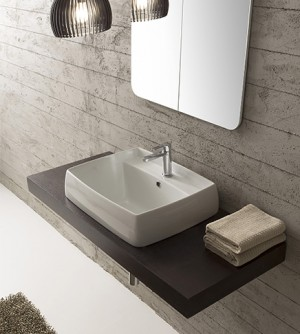 Lavabo bagno arredo design incasso, in ceramica bianca, cm 80x46,5 Arco Scarabeo
