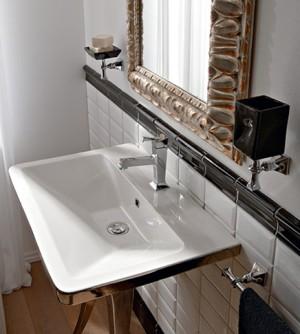 Lavabo bagno retrò sospeso/appoggio bianco/platino cm70,5x46,5 Butterfly Scarabeo