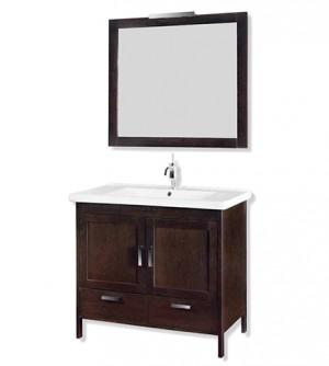 Mobile bagno a terra classico Topazio, misura cm 96, lavabo in porcellana, specchiera con cornice e applique, colore rovere wenghè