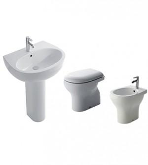 Sanitari bagno vaso a terra,bidet,lavabo con colonna,coprivaso,Grace Globo