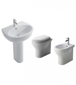 Sanitari bagno vaso filo muro,bidet e lavabo con colonna,coprivaso, Grace Globo ceramica bianca