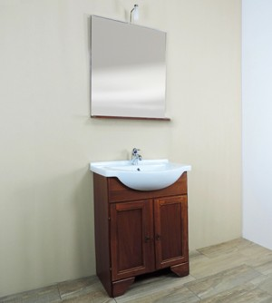 Mobile bagno a terra classico Savini Larisa, misura cm 65, lavabo e specchio con applique
