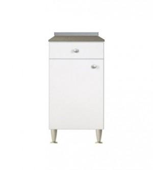 Mobile cucina componibile cm.40, con 1 anta e 1 cassetto, bianco top color marmo
