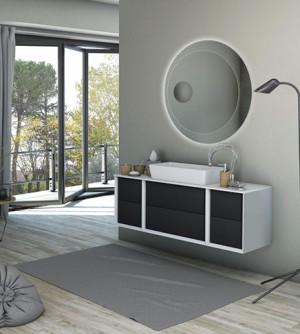 Mobile bagno sospeso moderno Bellagio sospeso grafite, misura cm 140, con specchio a led, top e lavabo