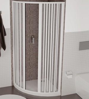 Box doccia semicircolare,misura cm80x80,cabina a soffietto con apertura centrale in pvc