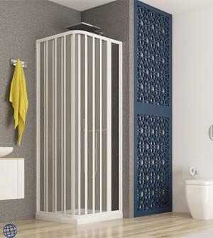 Box doccia angolare,misura cm100x100,cabina a soffietto con apertura laterale