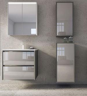 Mobile bagno sospeso moderno Glass antracite,cm 60,specchio,lavabo e 2 colonne