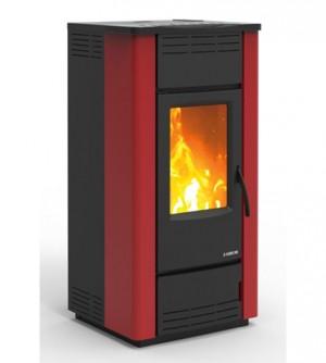Termostufa a pellet KARMEK ONE OSAKA PLUS 26,29 kW, in acciaio, rosso
