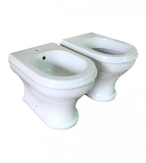 Sanitari bagno vaso wc e bidet filo muro, senza coprivaso, Azzurra Charme con curva tecnica