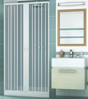 Box porta frontale doccia,misura cm170,soffietto apertura centrale colore bianco