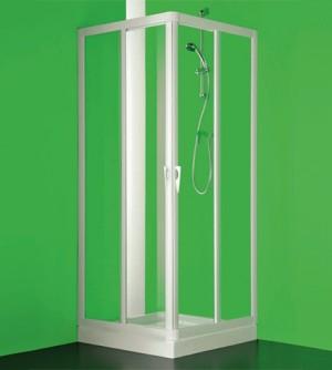 Box cabina doccia, cm.80-75x100-95, ad angolo a quattro ante acrilico PVC