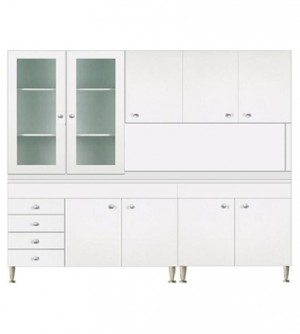 Mobile cucina componibile cm.200, con vetrina 2 ante, colore bianco