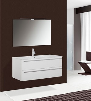 Mobile bagno sospeso moderno Matrix laccato bianco lucido, misura cm 120,5